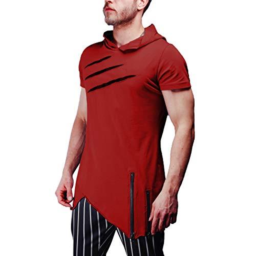 REALIKE Herren Kurzarmshirt Hoodie Tops Mode Plain Einfarbige Reißverschluss Loose Kurzer T-Shirt Fitness Trainings Oberteile Männer für Bequem Atmungsaktiv Mehrere Größen Viele Farben Bluse