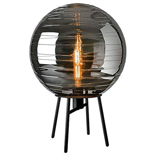 Vintage Tischlampe, Tisch-leuchte & Nachttischlampe E27 Esszimmer Wohnzimmer Schwarz Metall Glas