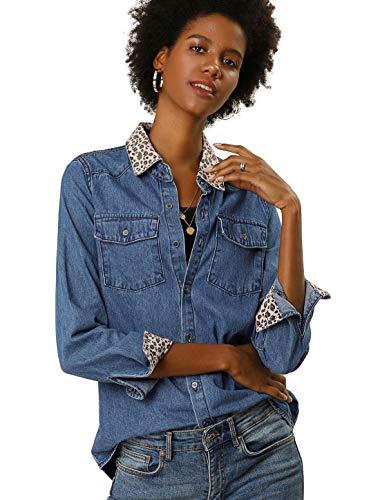 Allegra K Women's Leopard Print Button Up Long Sleeve Jean Shirt Denim Jacket L Blue