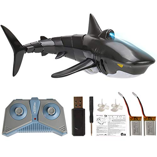 Outamateur Remote Control Shark 2.4G RC Shark Fish Boat Mini Radio Electronic Shark Fish Boat Toy Simulation Toy for Children Kids(Black)