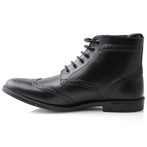 Unze Mens Leather 'Taylor' Lace Up Brogue Ankle Boots – IMP-M1