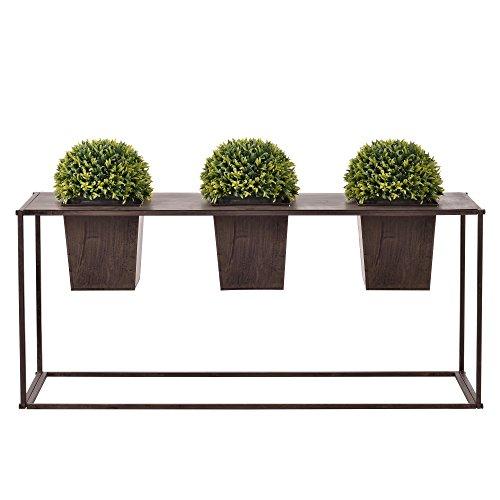 [casa.pro]® Blumenkübel mit Pflanztopf Outdoor - Dunkelbraun Metall 39 x 85 x 24cm Edelrost Pflanzsäule Pflanzkübel Blumentopf Gartendeko