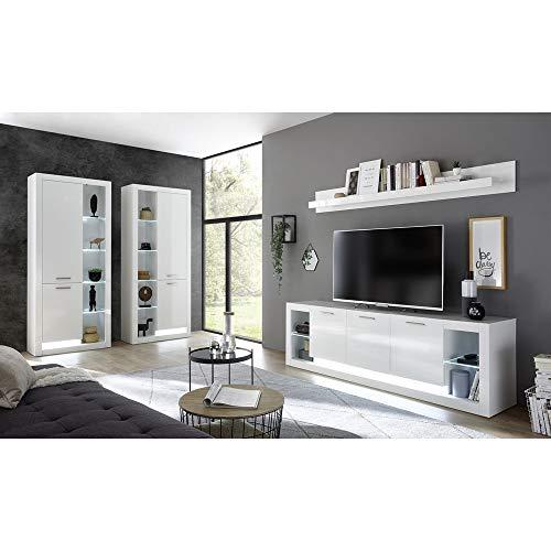 Lomadox Zeitloses Design Wohnwand Set 4-teilig, Hochglanz weiß, LED-Beleuchtung, 2 Vitrinenschränke, TV-Lowboard, Wandregal