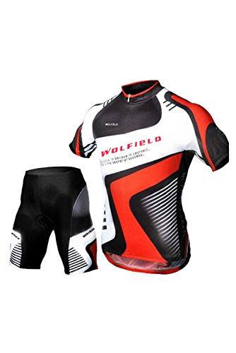 WOLFBIKE Set zomer heren fietsshirt voor fietsen mountainbike fiets kleding korte mouw pak en fiets shorts M
