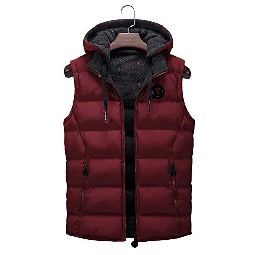LVYING Women's Outerwear Vests Casual Hooded Coat Zipper Up Quilted Jacket with Pockets Long Vest Red
