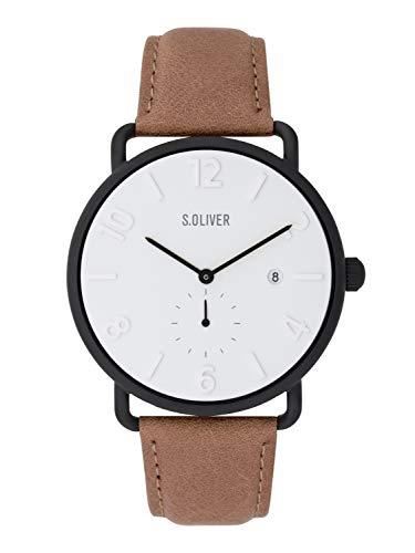 s.Oliver Herren Analog Quarz Uhr mit Leder Armband SO-3718-LQ