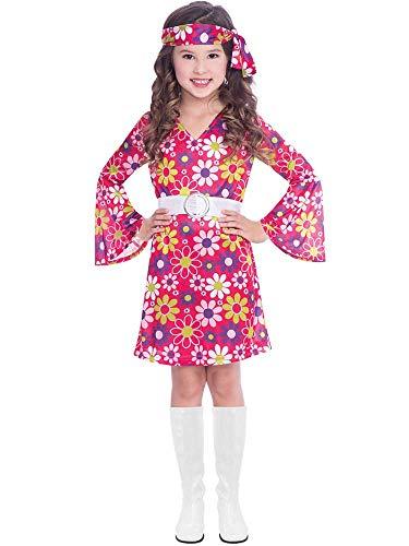 amscan 9906417 Kinder 60er Jahre Retro Mädchen Kostüm (Alter 6-8 Jahre), Mehrfarbig