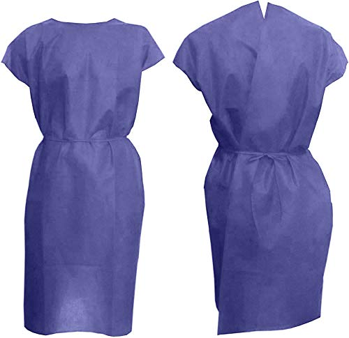 Dukal Disposable Frocks. Pack of 10 Adult Coats. Purple Polypropylene Frocks with Short Sleeves and Open Back with Belt. One Size Fits All. Elastic Waist and No Pockets. Unisex Poly Garment.