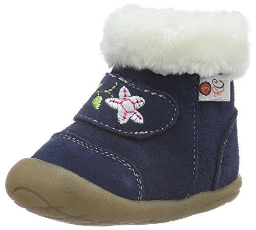 Rose & Chocolat Rose et Chocolat Mini Soft, Chaussures de Naissance Fille, Bleu (Suede Navy Boots), 19 EU