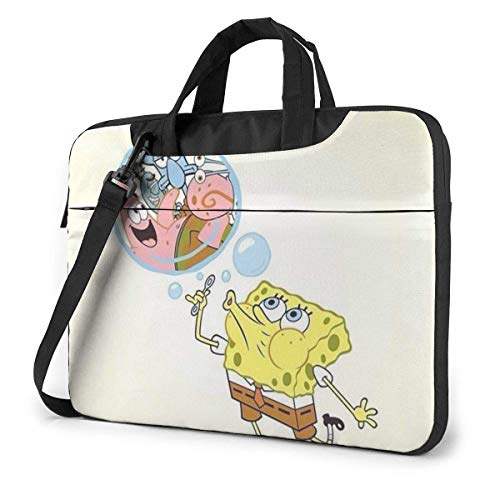 Lsjuee 13 Inch Laptop Bag Spongebob and Squidward Laptop Briefcase Shoulder Messenger Bag Case Sleeve