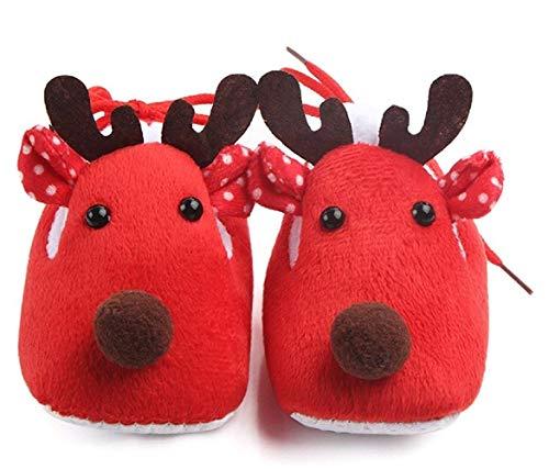 (red) zapatos para recién nacidos - niños - zapatos antideslizantes - navidad - reno - muy caliente - niño - niña - unisex (talla 19 eu = 6/12 meses del fabricante)