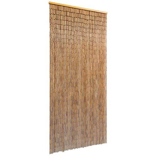 vidaXL Cortina Puerta Elegante Bambú Marrón 90x200 cm Estor Flecos de Entrada