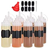Belinlen 8 Pack 12 oz Plastic Squeeze Squirt Condiment Bottles with Twist On Cap Lids - Perfect for Condiments, Oil, Icing, Liquids–Set of 8 with Extra 1 Silicone Funnel, 8 Chalk Labels and 1 Pen