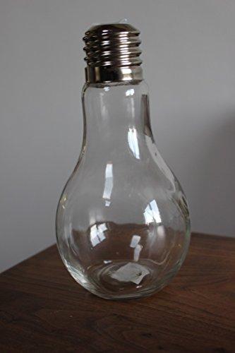 VOSS Bouteille lumineuse en verre transparent avec bouchon à vis, 18 cm de haut, bouteille en forme d'ampoule de 500 ml