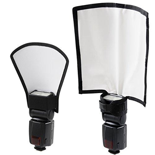 Universal Blitz Diffusor Set, Mini Blitz Reflektor Silber / Weiß, Biegbarer Positionierbarer Blitzleuchten Diffusor Softbox für Nikon Canon Sony Speedlite