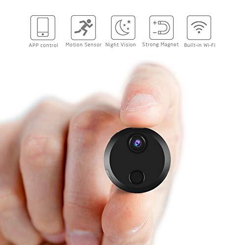 Hootracker Mini Cámara espía, Espía Cámara Oculta 1080P HD Portátil Interior/Exterior WiFi Cámara IP Oficina Vision Nocturna Cámara Inalámbrica, Cámara de Mascota de Niñera para iPhone/iPad/PC