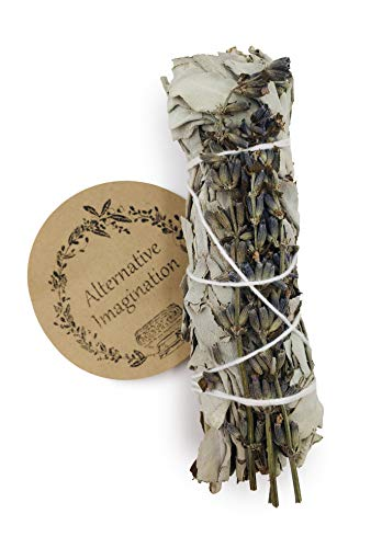 Alternative Imagination White Sage with Lavender Incense Wands. for Aromatherapy, Cleansing, Meditation, Yoga, and Smudging. Pack of 1.