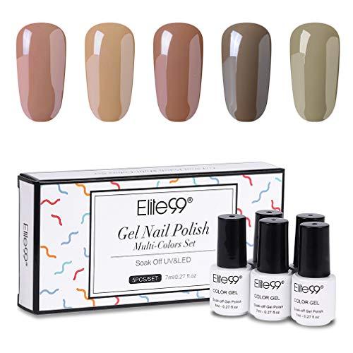 Elite99 Nude Serie Gellack Set Nude Farben Gel Nagellack Nude UV Nagellack Set Nagellack Geschenk Kit UV Soak Off Gel mit Geschenk Box Set 7ML 5PCS CH002