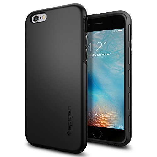 :Cover iPhone 6, Spigen Cover iPhone 6S [Rivestimento Soft-Feel & Dual] Thin Fit Hybrid [Black] **Custodia Sottile & Robusto** Forma Perfetta, Custodia iPhone 6 / iPhone 6S (SGP11730)
