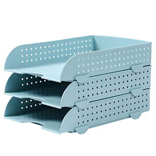 Revistero archivador Escritorio del archivo Archivo Rack Box datos de tres capas Archivo Bandeja Carta de plástico for el Escritorio Organización cajón apilable Tipo de Archivo Clasificador Clasificad