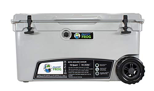 Frosted Frog Original Gray 70 Quart Ice Chest Heavy Duty High Performance Roto-Molded Commercial Grade Insulated Cooler with Wheels