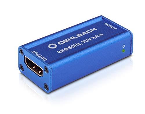 Oehlbach UltraHD Repeater (HDMI signaalversterker voor UltraHD signalen, HDR, Dolby Vision, 4K met 60Hz, HDCP 2.2) - kobaltblauw