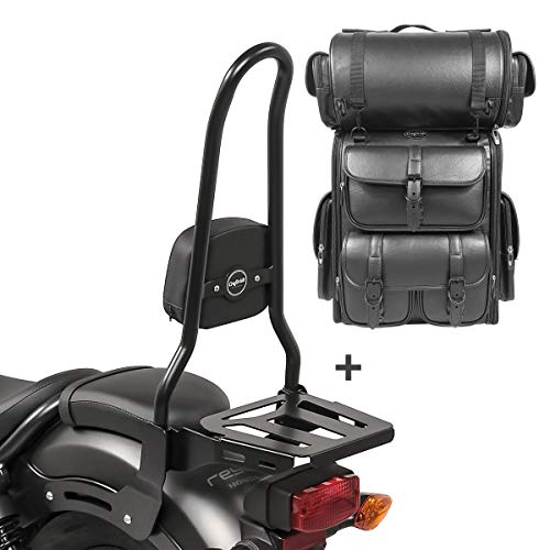 Respaldo Sissy Bar XL3 + Bolsa Trasera LX para Yamaha XV 535 Virago 88-03