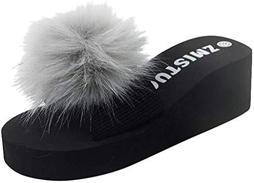 LCFF Chanclas For Mujer Zapatillas de Playa de Verano cuñas no Slip Zapatillas Zapatos de Bola Peluda Inicio Calzado for Interior, Exterior (Color : Gray, Size : UK6.5-40 EU)