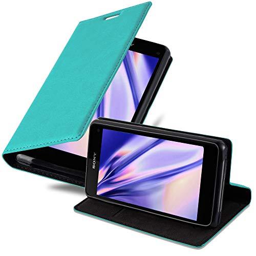 Cadorabo Hülle für Sony Xperia Z1 COMPACT - Hülle in Petrol TÜRKIS – Handyhülle mit Magnetverschluss, Standfunktion & Kartenfach - Case Cover Schutzhülle Etui Tasche Book Klapp Style