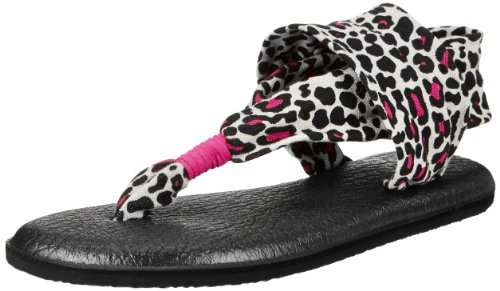 Sanuk Kids Girls' Y Yoga Sling Burst, Black/Fuchsia Cheetah, 5/6 M US Little Kid