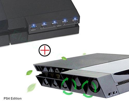 PS4 Lüfter Ventilator Kühler & 5-Port USB Hub Combo Kit - ElecGear Externe Kühlgebläse Automatischer Sensor-Kühlung mit USB3.0 erweiterung Adapter Extender Ladegerät für Playstation 4