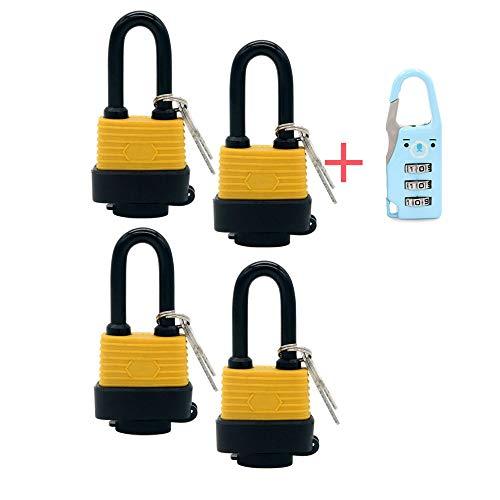 4-teiliges Vorhängeschloss, gleichschließend, wasserfest, breiter Korpus – wetterfest, für den Außenbereich, 8 Schlüssel enthalten, nicht korrosiv (Langer Strahl)