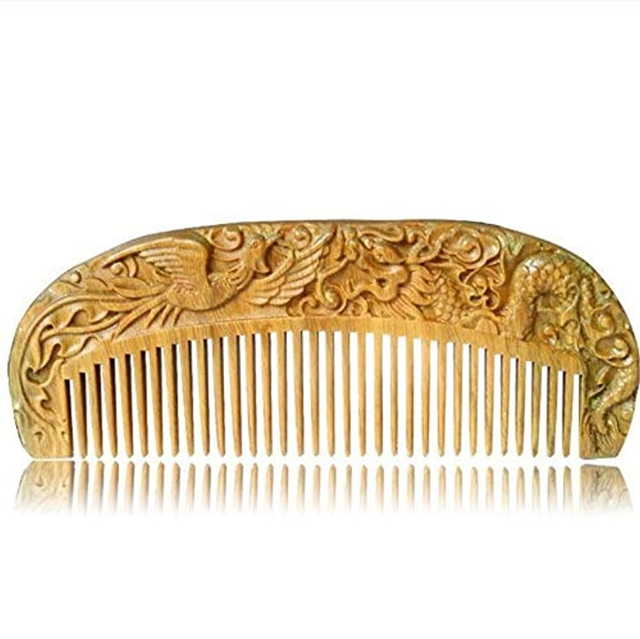 オーバーフロー受益者粘着性Handmade Carved Natural Sandalwood Hair Comb - Anti-Static Sandalwood Hair Comb Beard Brush Rake Comb Handmade Engraving Dragon and Phoenix [並行輸入品]