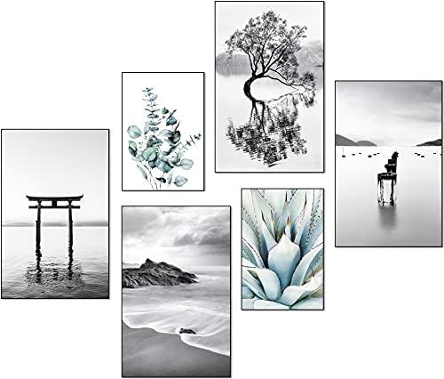 artpin Moderno juego de pósteres, cuadros decorativos para salón dormitorio, playa, palmera, negro, blanco, pared sin marco...