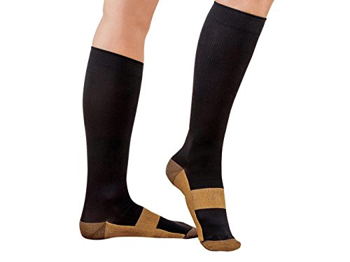 Sirosky Compression Copper Socks Graduated 20-30 mmHg Support Sock Feet Foot Ankle Pain Relieving Ache Relief for Men Woman Over the Calf Below Knee High (Black/Gold-1PR, Lg/XL)