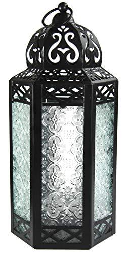 Gran Linterna de Vela marroquí con Vidrio Transparente y Luces LED