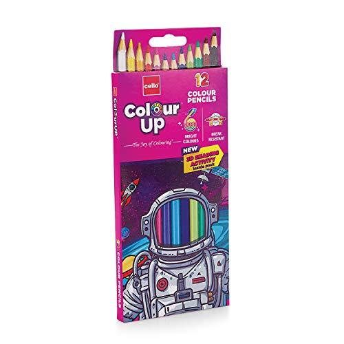 Cello ColourUp Colour Pencil Set -Pack of 12, Bright and Strong Pencil colours, Non toxic colouring range, Safe colours for children