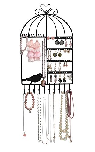 Jewelry Organizer for Display — Jewelry Stand for Hanging Rings & Earrings, Wall-Mounted Vintage Inspired Birdcage Jewelry Organizer