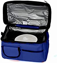 Double Compartment Navy Blue Insulated Lunch Bag