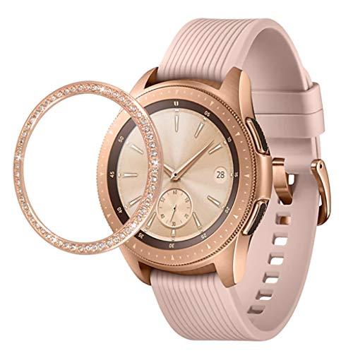 2 Stück Lünettenring Kompatibel mit Samsung Galaxy Watch 46MM Klebstoffabdeckung Edelstahl mit Strass Diamant Lünettenabdeckung Anti Scratch Schutzhülle Selbstklebend Uhrenring für Frauen Damen