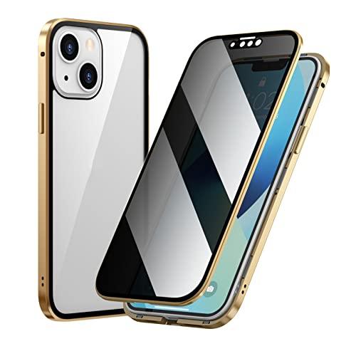 AWJK Funda iPhone 13 Mini Magnética De 360 Grados para Cuerpo Completo, Antigolpes [con Protección para Objetivo De La Cámara] Parte Trasera Y Delantera Templado Antiarañazos,Oro