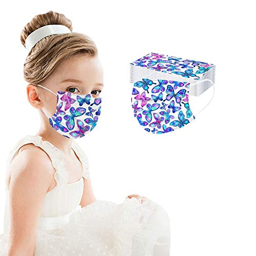 Kids Face_Mask Disposable-50 Pack Multicolored Butterfly Face_Masks for Boys Girls-Children's Size - for Childcare,School