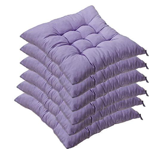 Set di 6 cuscini per sedia con nastri, 40 x 40 x 5 cm, cuscini per sedie per interni ed esterni (diversi colori a scelta) Viola luminoso