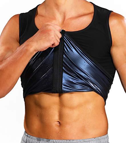 KIWI RATA Chaleco Sauna Faja Reductora Hombre Premium Polímero Compresión Cómoda Camiseta de Sudoración - Deporte Fitness