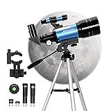 Aomekie Telescopios Astronomicos para Niños Principiante 70/300 Astronomico Refractor con Trípode Adaptador para Teléfono Ffiltro Lunar para observación de Estrellas y observación de Aves