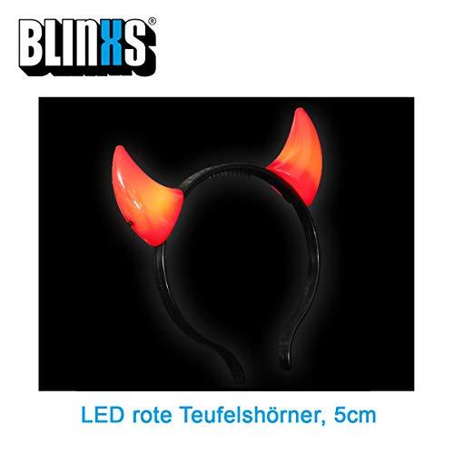 BLINXS LED Junior Haarreifen / Haarreif roteTeufelshörner (5cm) zum Kostüm oder für Halloween | Party | Karneval | Fasching - mit austasuchbaren Batterien