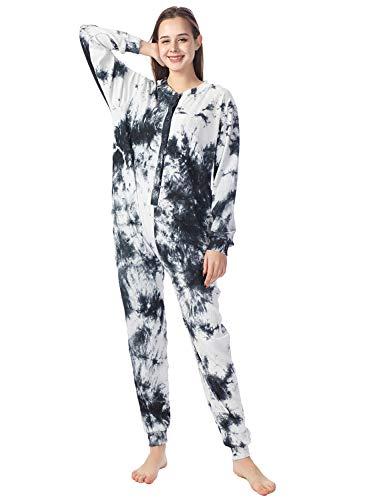 Lifeye Womens Onesie Pajamas Tie-Dye Cotton Romper Thermal Sleepwear Long Sleeve Jumpsuit Homewear Nightwear with Pockets Black White M