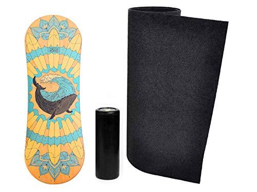 Trickboard Mandala Balance Board Set: Brett + Roller + Teppich + Aufkleber kostenlos - Balance Training Skateboard Surfboard Snowboard Wakeboard