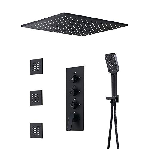 JiaYouJia 20'' Rain Shower System with Square Rainfall Shower Head & Handheld Shower & Body Spray Jets & 3-Function Standard Shower Valve in Matte Black