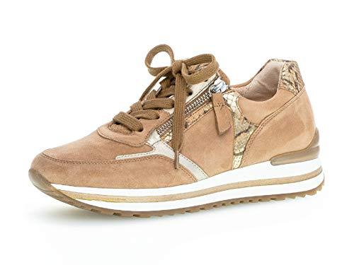 Gabor Damen Sneaker, Frauen Low-Top Sneaker,Comfort-Mehrweite,Reißverschluss,Optifit- Wechselfußbett, Lady Ladies,Caramel/Camel/plat,38.5 EU / 5.5 UK